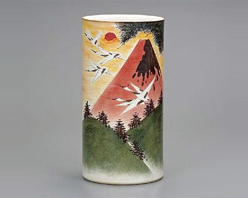 九谷焼 傘立 14号傘立 赤富士