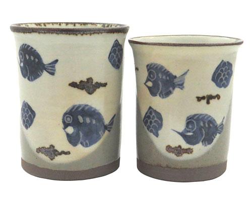 京焼・清水焼 関窯 組湯呑 掛分魚紋