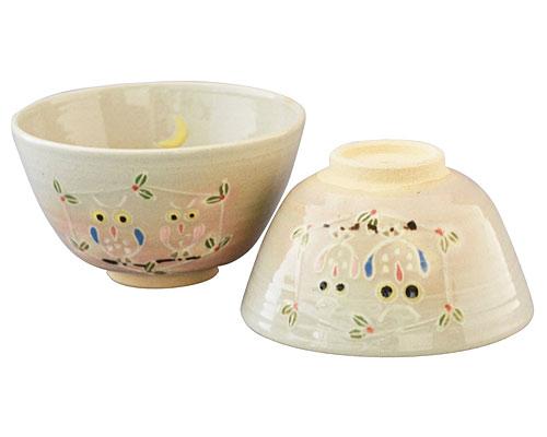 京焼・清水焼 関窯 大小組茶漬 フクロウ
