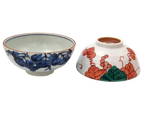 京焼・清水焼 昇峰窯 組茶漬 青赤葡萄