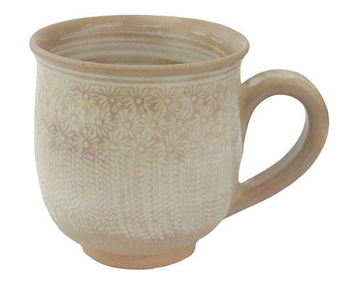 京焼・清水焼 関窯 マグカップ 白三島とびかんな
