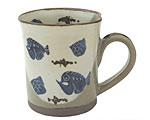 京焼・清水焼 関窯 マグカップ 掛分魚紋