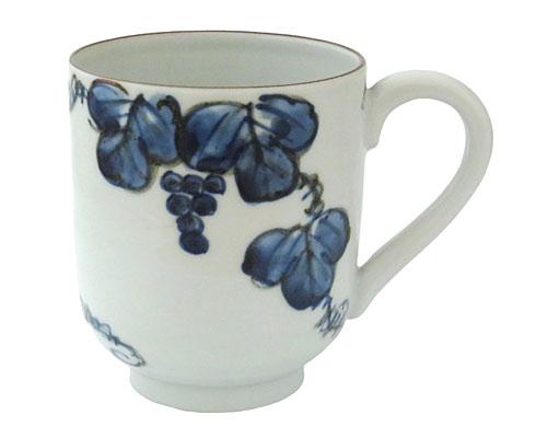 京焼・清水焼 紫峰窯 マグカップ 青葡萄