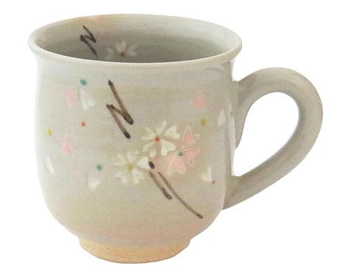 京焼・清水焼 関窯 マグカップ 粉引桜