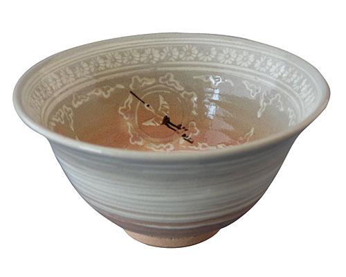 京焼・清水焼 関窯 抹茶碗 丸紋雲鶴