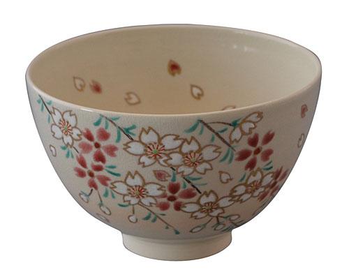 京焼・清水焼 尚峰 抹茶碗 枝垂れ桜