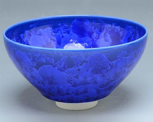 京焼・清水焼 抹茶碗 「 花結晶(瑠璃) 」 陶あん窯