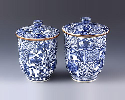 京焼・清水焼 蓋付組湯呑 「 赤濃牡丹唐草 」 壹楽窯
