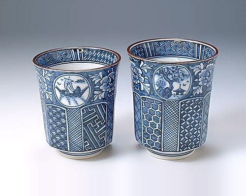 京焼・清水焼 組湯呑 「 牡丹山水古紋 」 雙楽窯