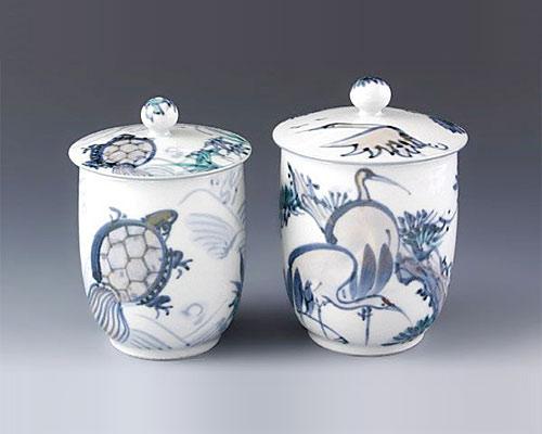 京焼・清水焼 蓋付組湯呑 「 長寿 」 瑞昭窯