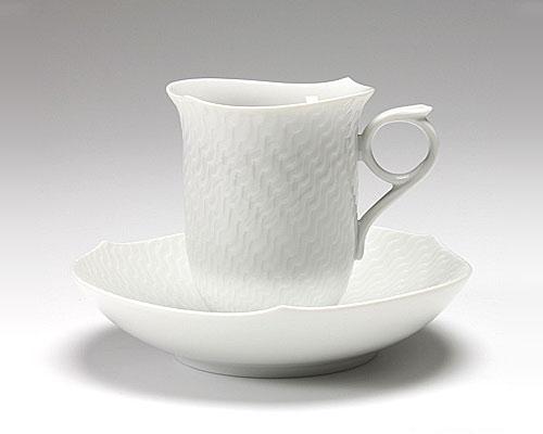 マイセン 波の戯れホワイト コーヒーカップ&ソーサー 180cc