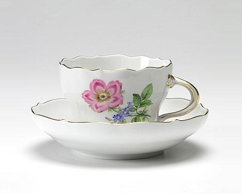 マイセン ベーシックフラワー(二つ花) コーヒーカップ&ソーサー 200cc 野バラ ピンク