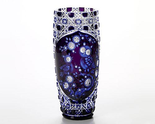 マイセンクリスタル 花瓶 フクロウ 2層被せ 28cm OWL/504/28aq