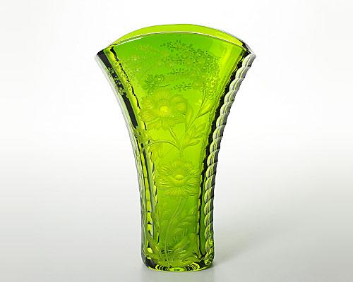 マイセンクリスタル 色被花瓶(グリーン) 24cm SOM