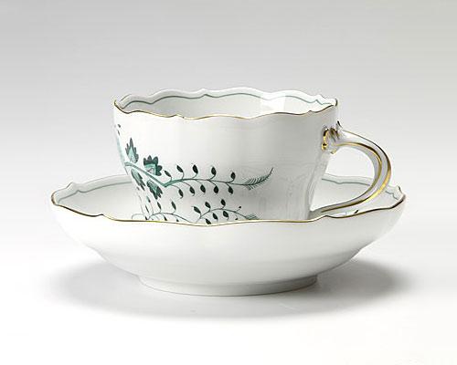 マイセン インドの鳥 グリーン コーヒーカップ&ソーサー 200cc