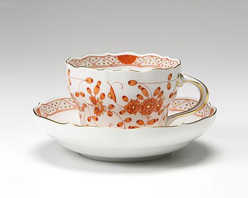 マイセン インドの華 オレンジ コーヒーカップ&ソーサー 200cc
