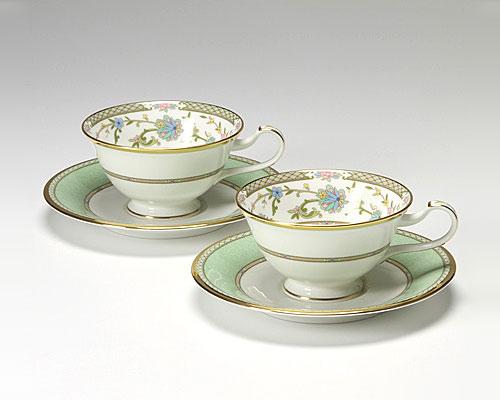 ノリタケ ヨシノ ティー・コーヒー兼用 碗皿 ペア グリーン