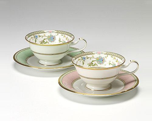 ノリタケ ヨシノ ティー・コーヒー兼用 碗皿 ペア ピンク&グリーン