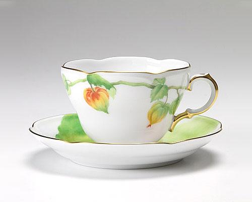 大倉陶園 碗皿ごよみ12ヶ月 ほおずき(葉月) カップ&ソーサー