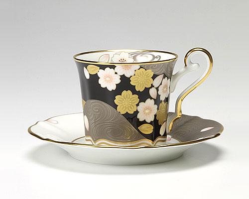 ノリタケ あやみなも 夜桜金銀彩コーヒー碗皿