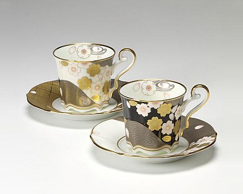ノリタケ あやみなも 桜金銀彩絵変り コーヒー碗皿 ペア
