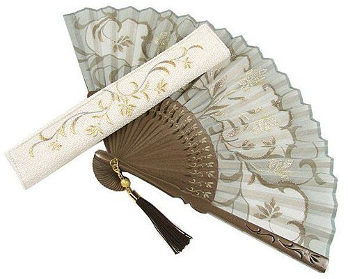 刺繍扇子 唐草花(扇子袋付き)