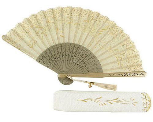 刺繍扇子 女性用 唐草 扇子袋付き