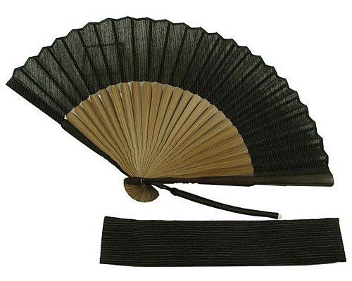 男物扇子 小千谷ちぢみ縞模様(扇子袋付き)黒