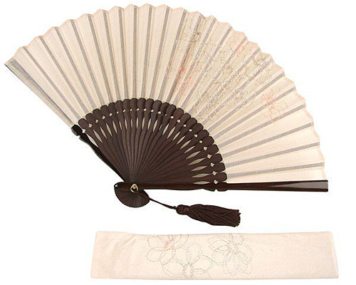 扇子 女性用 アネモネ刺繍 扇子袋付き ピンク