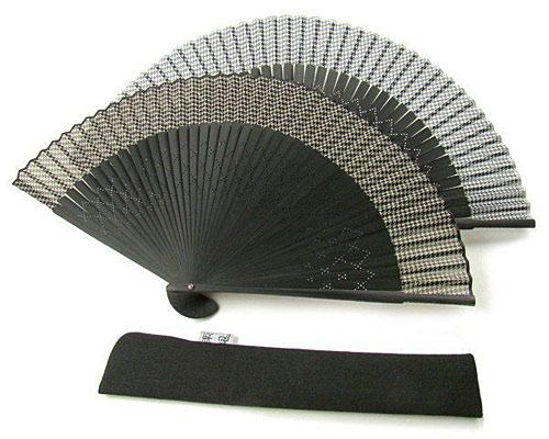 扇子 男性用 鳥柄 茶/黒 黒色扇子袋付き