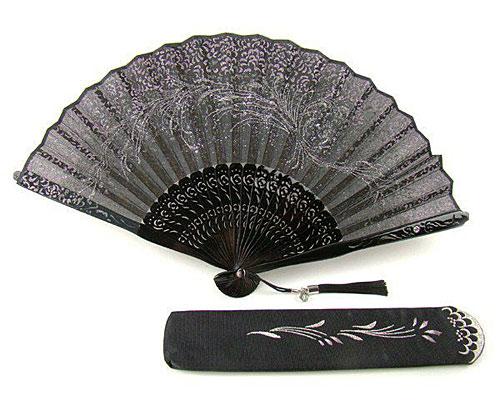 刺繍扇子 女性用 唐草 扇子袋付き 黒