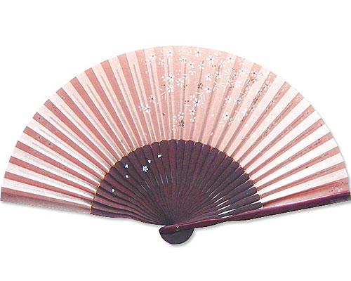 高級扇子(扇子袋付) 「こぼれ絵/桜:ピンク」