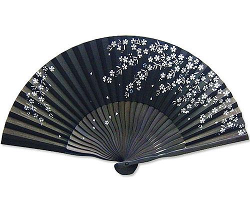 高級扇子(扇子袋付) 「こぼれ絵/桜:黒」