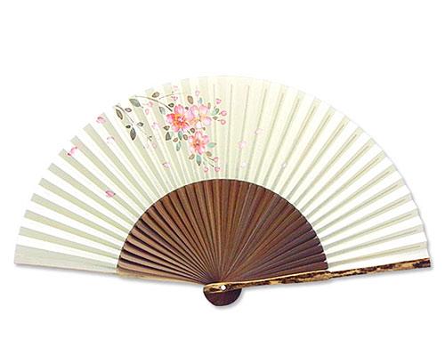 高級扇子(桐箱入) 「親斑 中短地 手描絵/桜」