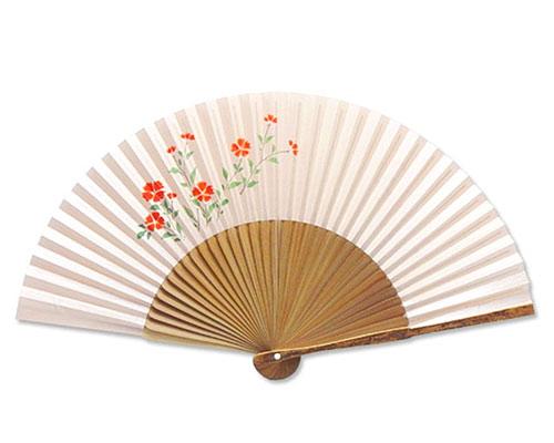 高級扇子(桐箱入) 「親斑 中短地 手描絵/菊」