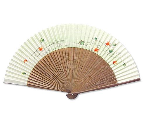 高級扇子(桐箱入) 「大短地手描き絵/紅葉」