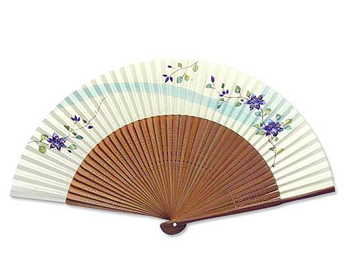 高級扇子(桐箱入) 「大短地手描き絵/鉄線」