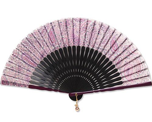 高級扇子(扇子袋付) 「チャーム付 ペイズリ/ピンク」