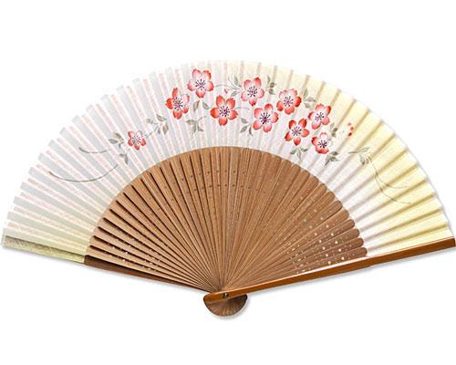 高級扇子(扇子袋付) 「和花プリント/桜:黄緑」