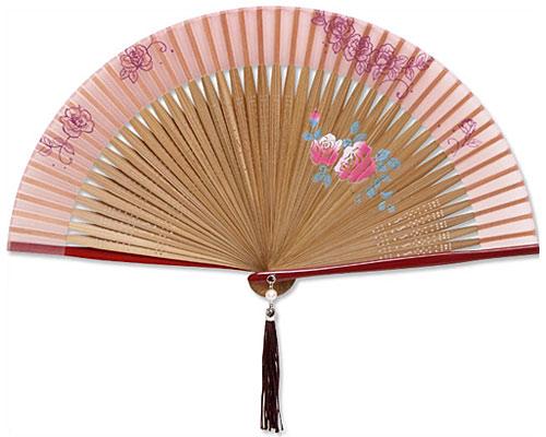高級扇子(扇子袋付) 「ペンテックス/薔薇:ピンク」