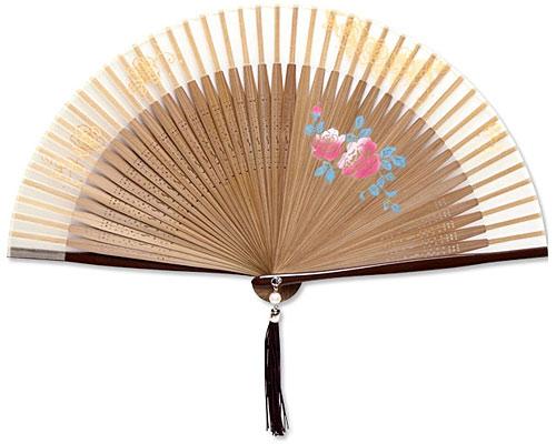 高級扇子(扇子袋付) 「ペンテックス/薔薇:ベージュ」
