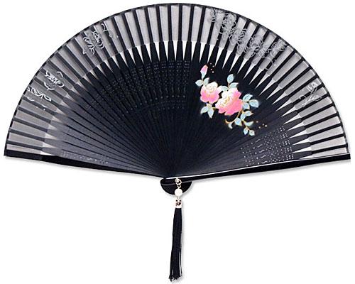 高級扇子(扇子袋付) 「ペンテックス/薔薇:黒」