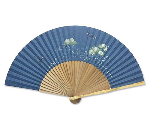 高級扇子(桐箱入) 「親斑 中短地 手描絵/蜻蛉」