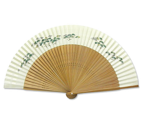 高級扇子(桐箱入) 「大短地手描き絵/松」