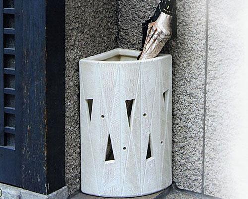 信楽焼 傘立 16号白マット透し彫扇形傘立