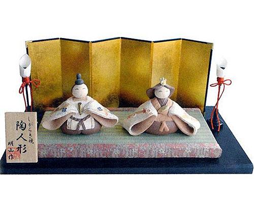 ひな人形 信楽焼 梅 親王飾り節句祝セット 人形雛