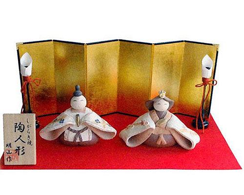 ひな人形 信楽焼 梅 親王飾り芽生えセット 人形雛