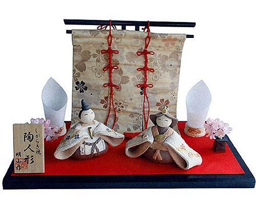 ひな人形 信楽焼 梅 親王飾り金襴セット 人形雛