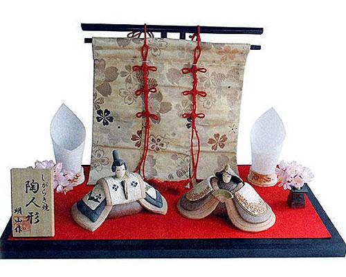 ひな人形 信楽焼 奏 親王飾り金襴セット 人形雛