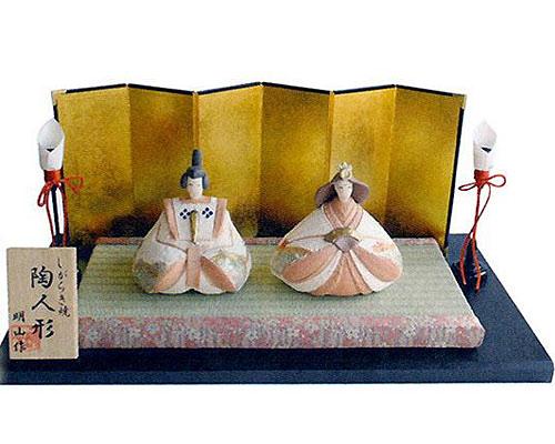 ひな人形 信楽焼 凛 親王飾り節句祝セット 人形雛
